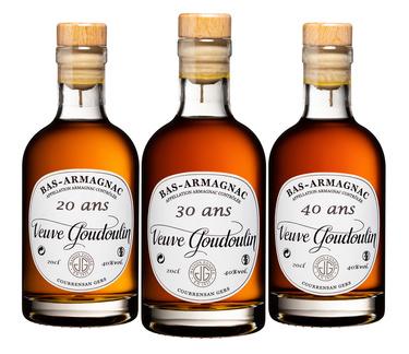 Coffret Bas-armagnac Goudoulin 3x20cl 20/30/40 Ans