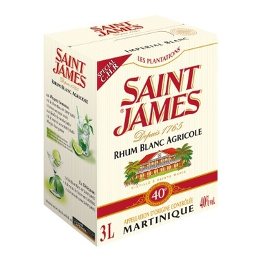 Rhum Blanc Agricole Martinique St James 40% Bib 3l
